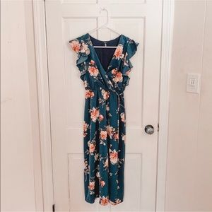 """Navy and Pink floral """"wrap"""" dress."""